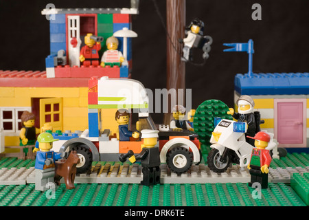 Police stop a speeding motorist for questioning in Legoland - Stock Image