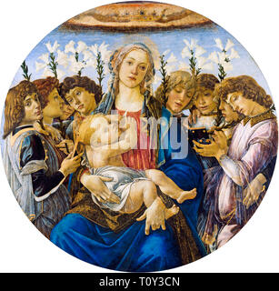 Sandro Botticelli, Mary with the Child and Singing Angels, painting, c. 1477 - Stock Image