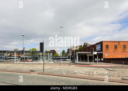 Bury bus station in Greater Manchester showing its exit onto Angouleme Way. - Stock Image