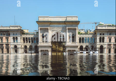 Digital manipulation of flooded Vittorio Emanuele II Gallery in Milan, Italy - Climate Change - Stock Image