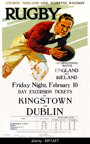 Rugby, Railway Poster, 1928 for the trip from the Midlands to Dublin to watch the Ireland v England international match - Stock Image
