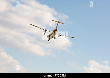 Double propeller commercial passenger airplane - Stock Image
