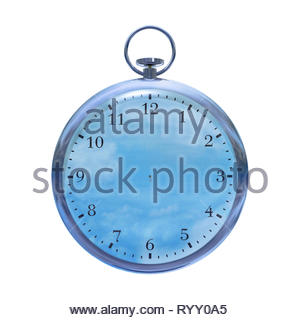 Timeless unending eternal everlasting watch without no hands on a white background. - Stock Image