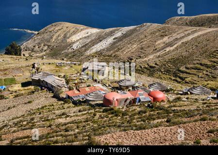 A luxury hotel in Lake Titicaca, Isla del Sol, Bolivia - Stock Image