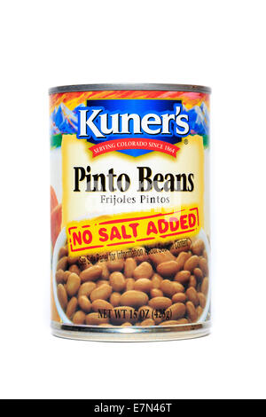 A can of Kuner's Pinto Beans isolated over a white background - Stock Image
