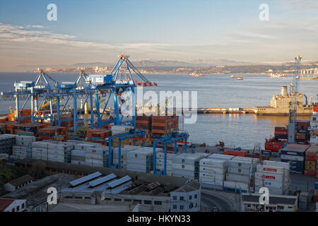 VALPARAISO, CHILE - AUGUST 9: View on the one of the chilean most important seaports on August 9, 2010 in Valparaiso, - Stock Image