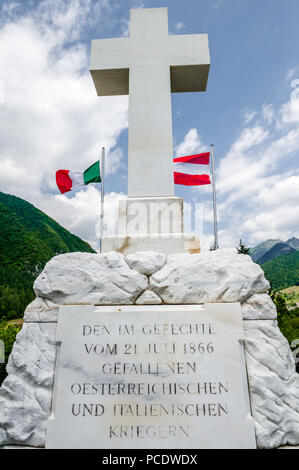 Memorial to the Great War of Independence between the Italians led by Giuseppe Garibaldi and the Austrian army in the alpine town of Bezzecca, - Stock Image