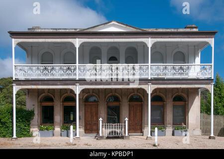 Victorian-era mansion beside Lake Daylesford in the Central Highlands spa resort of Daylesford, Victoria, Australia - Stock Image