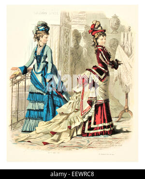 La Mode Illustree Victorian era period costume fashion dress gown gowns skirt veil cuff frills muslin cap embroidery - Stock Image