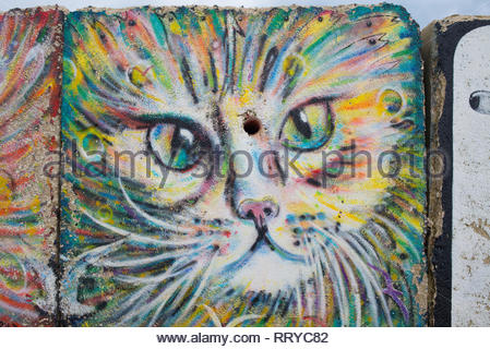 Sweet Cat face Mural graffiti drawing on big square stone street art - Stock Image