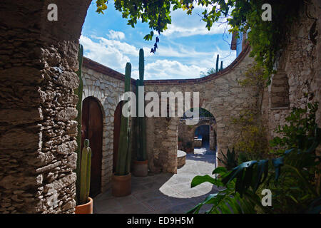 The POSADA DE LAS MINAS HOTEL in historic MINERAL DE POZOS which was once a large mining town - MEXICO - Stock Image