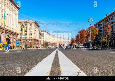main street of the center of the capital of Ukraine Khreshchatyk Ukraine, Kiev 10.11.2018 - Stock Image