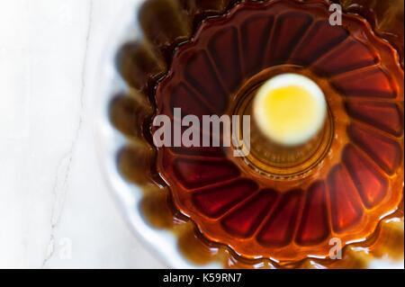 pudim flan, mandarin flan - Stock Image