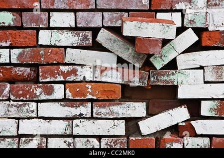 dilapidated brick wall - Stock Image