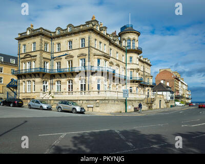 The former Zetland Hotel the largest in Saltburn built in 1861 with its own access from the railway was converted to apartments in the 1990's - Stock Image