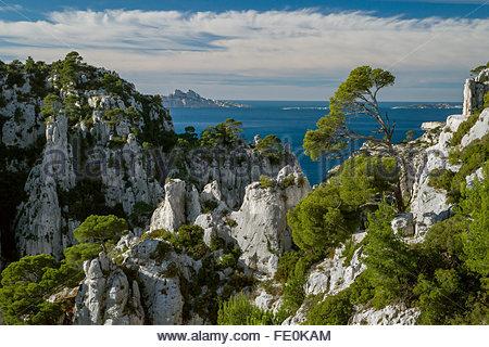 Calanques de Cassis national park near Marseille (France) - Stock Image