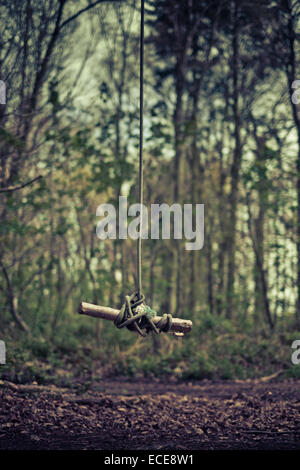 Rope swing in forest - Stock Image