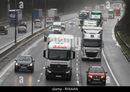 Northampton. U.K. 12th March 2019. Storm Gareth which was expected to hit the UK today,  forecat to bring gale force winds and torrential rain never materialise to much in Northamptonshire  with no affect to traffic on the M1 motorway. Credit: Keith J Smith./Alamy Live News - Stock Image