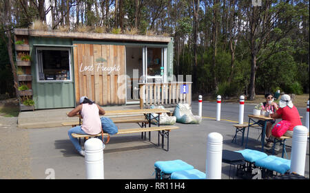 Lost Freight cafe (made out of a shipping container) at Spring Valley on the slopes of Mt Wellington, Hobart, Tasmania, Australia. NO mr OR PR - Stock Image