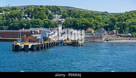 Wemyss Bay Inverclyde Scotland with pier for Caledonian MacBrayne ferries to  Rothesay on isle of Bute and Scotrail railway station behind left. - Stock Image
