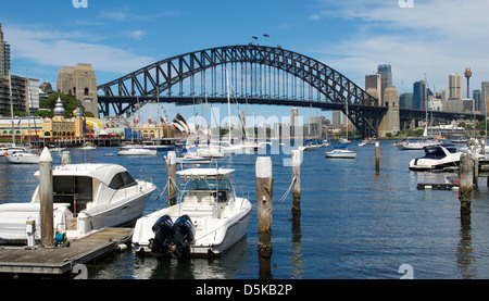 Lavender Bay and Sydney Harbour Bridge  Australia - Stock Image