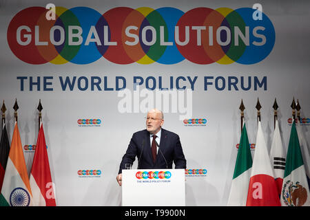 18.03.2019, Berlin, Berlin, Germany - Frans Timmermans, Vice President of the European Union and EU Commissioner, speaking at the Global Solutions Sum - Stock Image