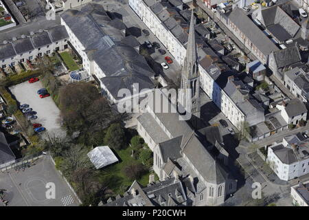 An aerial view of Plymouth Cathedral, Cornwall UK - Stock Image