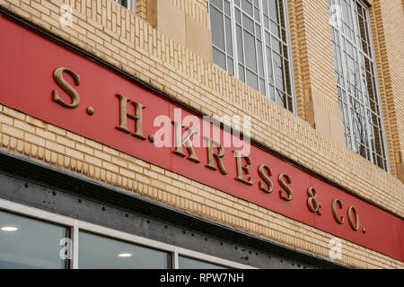 S.H. Kress department store exterior sign above the old main entrance to the closed business in Montgomery Alabama, USA. - Stock Image