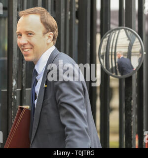 Westminster, London, UK. 20th Mar, 2019. Matt Hancock MP, Secretary of State for Health and Social Care. Entering Downing Street. Credit: Imageplotter/Alamy Live News - Stock Image