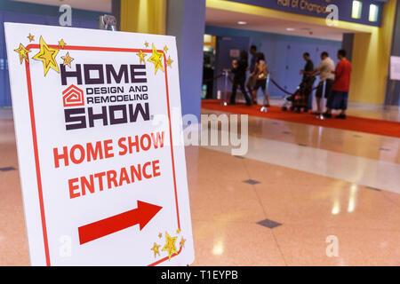 Miami Beach Miami Florida Beach Convention Center Spring Home Design and Remodeling Show exhibitor shopping decor sign arrow dir - Stock Image