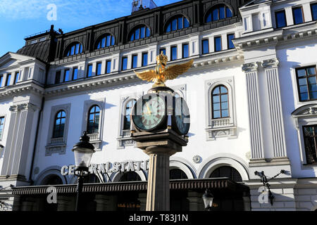 Exterior facade of the Central train station, Stockholm City, Sweden, Europe - Stock Image