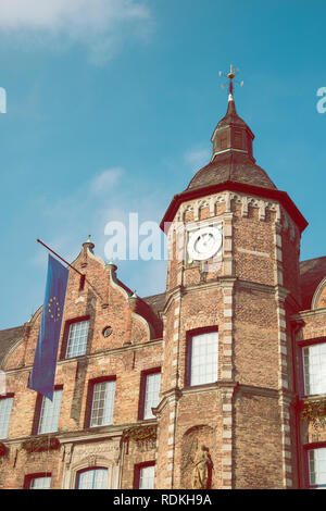 Detail of City Council building with european flag in Dusseldorf, Germany. - Stock Image