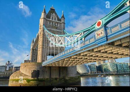 Tower Bridge is an ornate bascule bridge across the River Thames in London.. It is the most easterly bridge in the - Stock Image