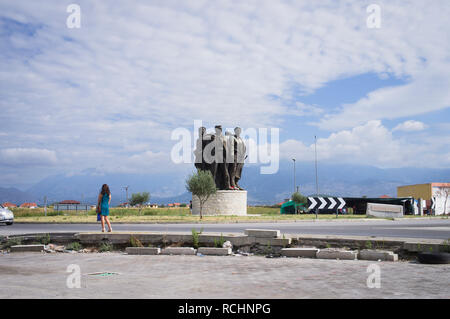 The 5 Vig's Heroes monument at outskirts of northern Albania`s city Shkoder (Shkodra or Skadar), one of the most ancient cities in the Balkans. On the - Stock Image