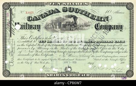 Historic share certificate, Canada, Southern Railroad Company, 1929, New York, USA, Historische Aktie, Canada Southern - Stock Image