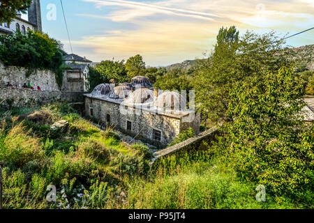 The domes of the Turkish bath in Pocitelj Village, Capljina, Bosnia & Herzegovina - Stock Image
