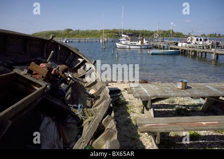 Pleasure boats moorded at Fyns Hoved  (Funen's Head), Funen, Denmark, Danish, boat, boating, nautical, rigging, - Stock Image