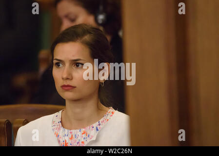 RIGA, LATVIA. 8th of July 2019. Indra Levita, daughter of Egils Levits, Newly elected President of Latvia, during his Solemn oath and address at the extraordinary session of the Saeima (Latvian parliament). Credit: Gints Ivuskans/Alamy Live News - Stock Image