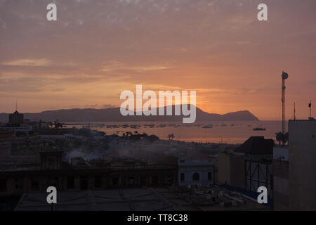 Sunset over the port of Callao. Lima, Peru - Stock Image