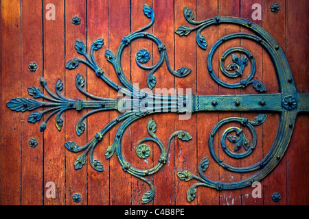 Arles; Bouches du Rhone, France; Detail of ornament on the door of the St.Trophime Church - Stock Image