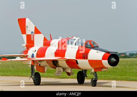 Croatian Air Force MiG-21 UMD taxi after landing - Stock Image