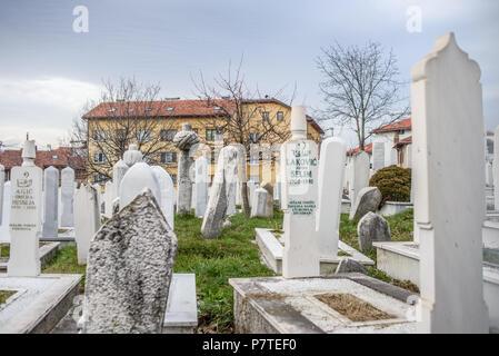 Muslim cemetery, Sarajevo, Bosnia and Herzegovina - Stock Image