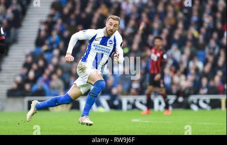 Glenn Murray of Brighton during the Premier League match between Brighton & Hove Albion and Huddersfield Town at the American Express Community Stadium . 02 March 2019 Editorial use only. No merchandising. For Football images FA and Premier League restrictions apply inc. no internet/mobile usage without FAPL license - for details contact Football Dataco - Stock Image