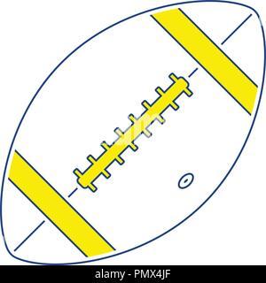Icon of American football ball. Thin line design. Vector illustration. - Stock Image