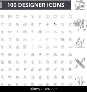 Designer line icons, signs, vector set, outline illustration concept  - Stock Image