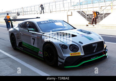 A 2018 Bentley GT3 EXP-11 representing the latest Bentley racing cars, as part of the Bentley Centenary Celebrations at the Silverstone Classic 2019 - Stock Image