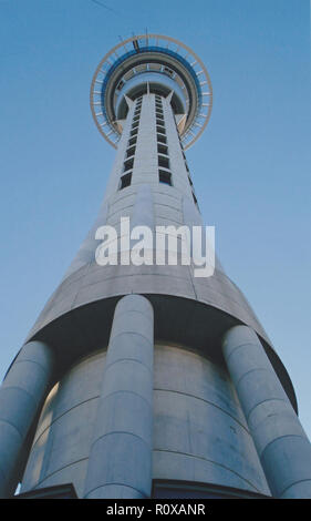 Sky Tower in Auckland New Zealand completed in 1997 it is the it the tallest freestanding structure in the Southern Hemisphere standing 328 metres or 1076 feet tall.  It is currently owned by SkyCity Entertainment Group - Stock Image