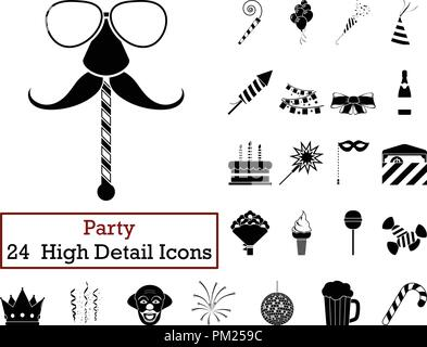 Set of 24  Party Icons.. Monochrome color design. Vector illustration. - Stock Image
