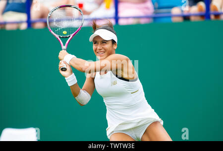 Eastbourne, UK. 23rd June 2019.  Heather Watson of Great Britain in action against Alize Cornet of France in their first round match at the Nature Valley International tennis tournament held at Devonshire Park in Eastbourne . Credit : Simon Dack / TPI / Alamy Live News - Stock Image