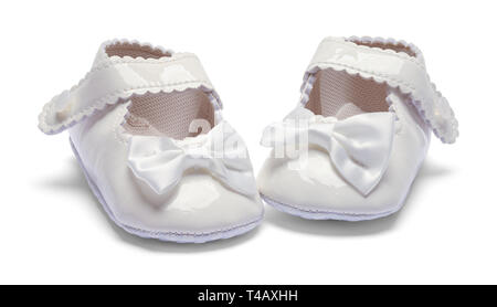 Girls Baby Dress Shoes Pointed Inward Isolated on White. - Stock Image